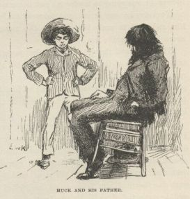 This is another photo that shows a disconnect, but this is between generations and classes. Huck's Father is slouching and sitting while Huck, comparatively exquisitely dressed, stands looking over his father.