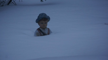 And Matthew braving another Cape Cod winter in the backyard.