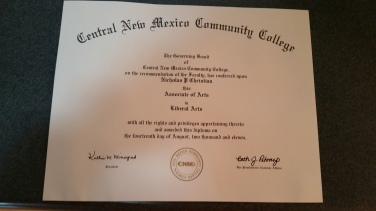 My associate's degree from CNM. I need to get a plaque for it.